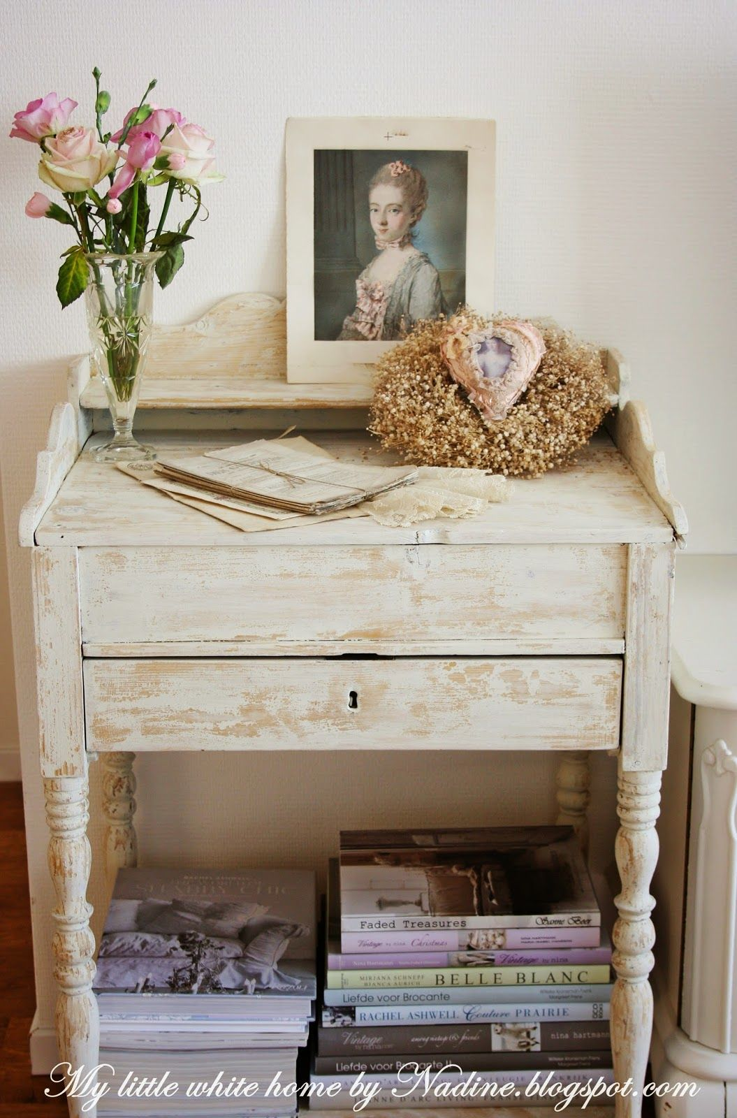 An old, little desk for my books and magazines.  My little white home by Nadine