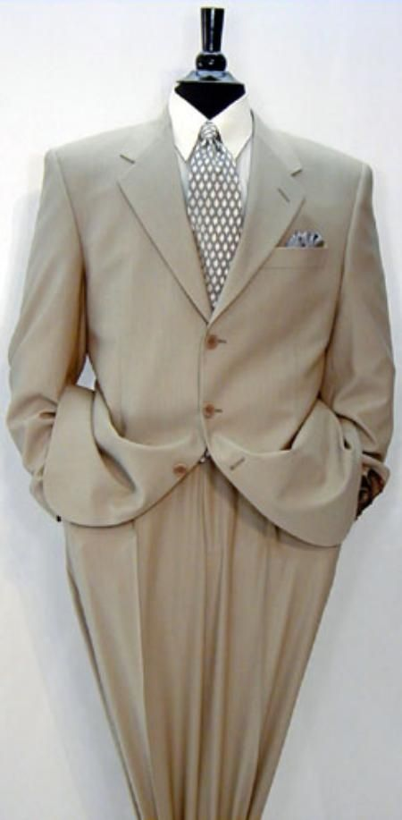 Luxeriouse High End UMO Collezion 3-Button Super 150's Wool & Cashmere Solid Tan premier quality Italian fabric Suit $295