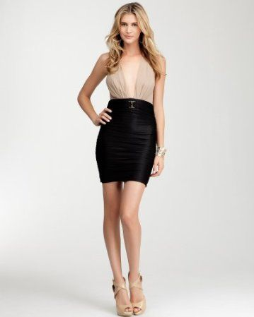 Toni Deep V Ruched Skirt Dress