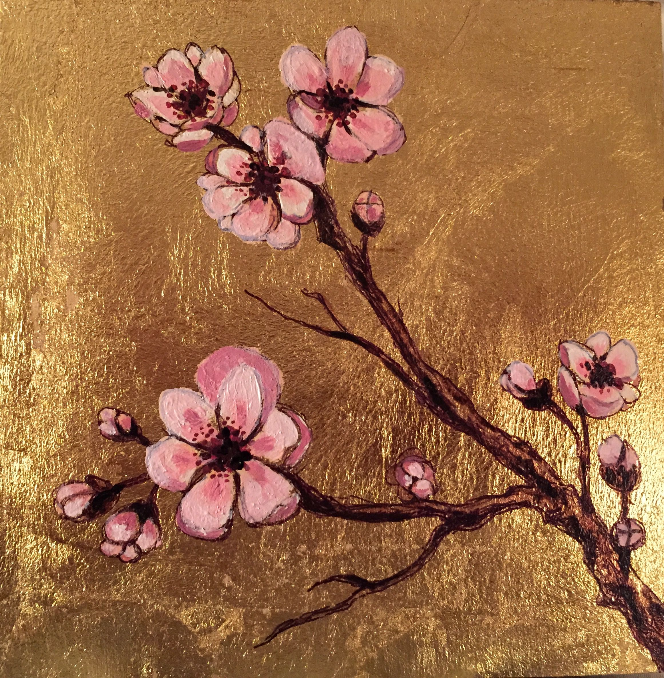 Praying Prunus Cherry Blossoms Painted In Acrylic On Gold Leaf And Wood Ar Cherry Blossom Painting Acrylic Canvas Painting Tutorials Cherry Blossom Painting