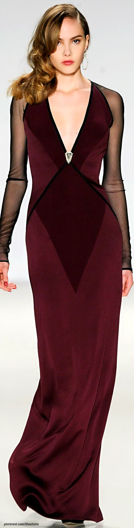 The rich burgundy hue will be very prevalent this season. Pamella Roland Fall 2014 - burgundy gown