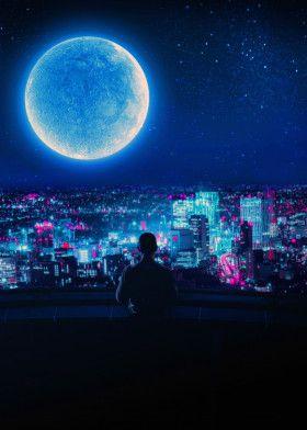 Moon 2077 inspired   Displate thumbnail