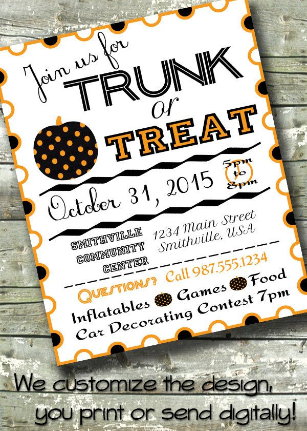 Trunk Or Treat Halloween Party 5x7 Invite 85x11 Flyer 11x14