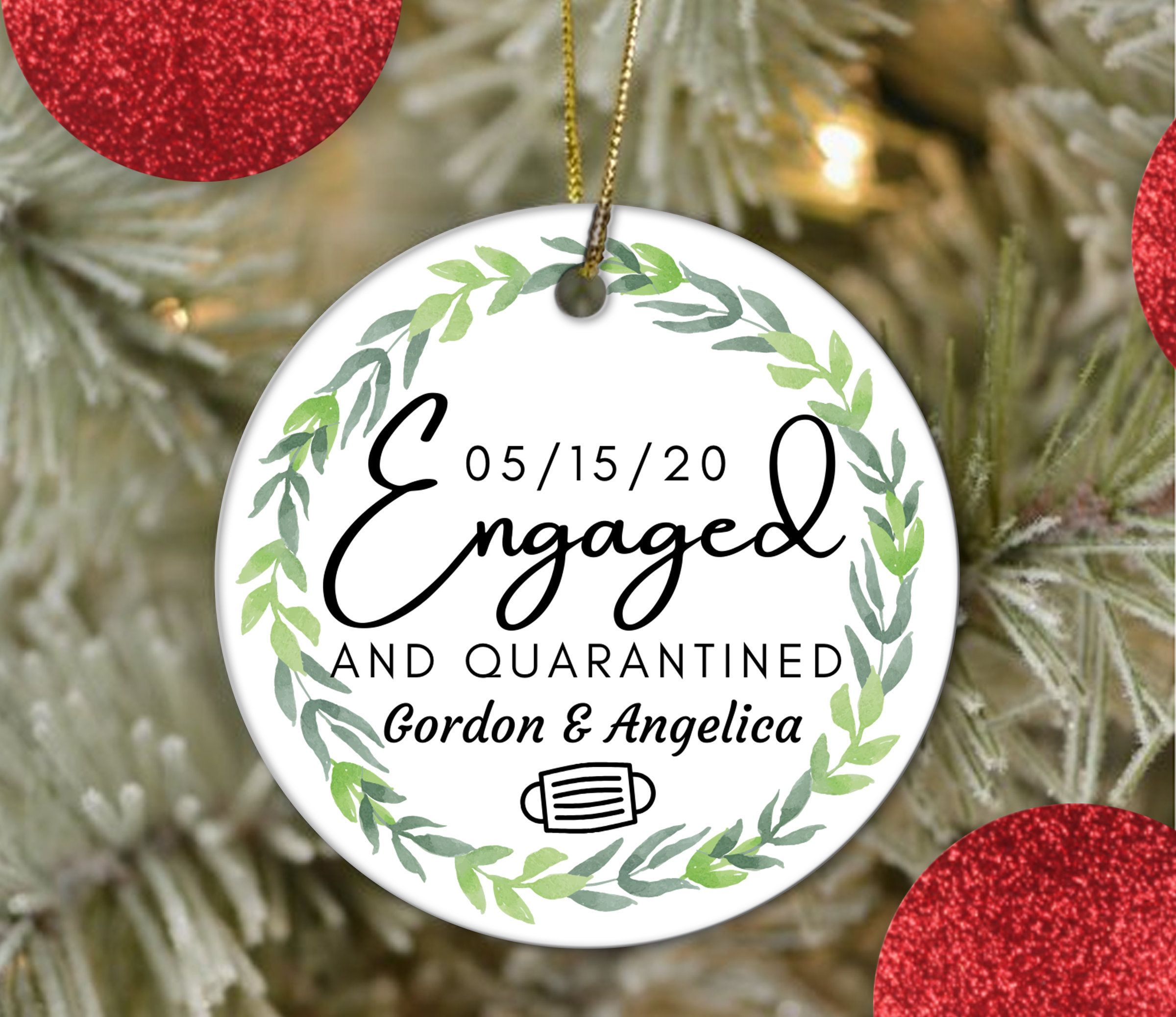 Engagement Ornament 2020 Engaged And Quarantined Etsy In 2020 Engagement Ornaments Christmas Ornaments To Make Christmas Decorations To Make