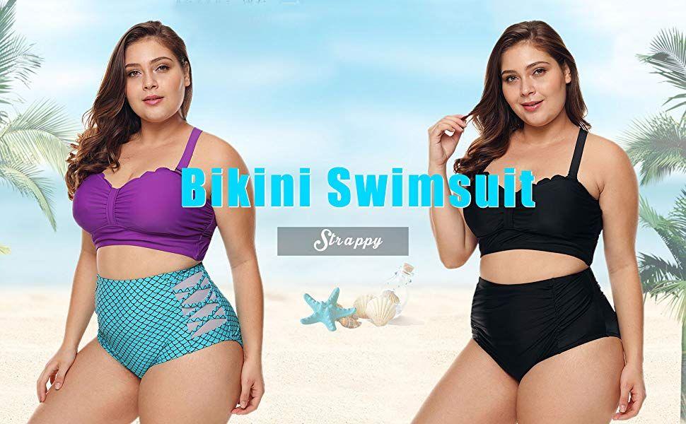 5e5cf96211 WoldGirls Women's Plus Size Strappy High Waist Bikini Swimsuit Bathing Suit  M-XXXL