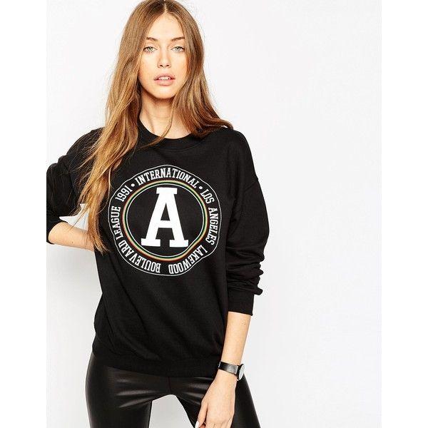 ASOS Sweatshirt with Varsity Print (£30) ❤ liked on Polyvore featuring tops, hoodies, sweatshirts, black, sweatshirt hoodies, print sweatshirt, sweat shirts, patterned sweatshirts and oversized sweatshirt