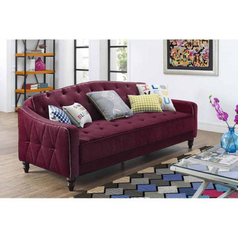 Dorel Home Novogratz Vintage Tufted Sofa Sleeper II Burgundy Velour