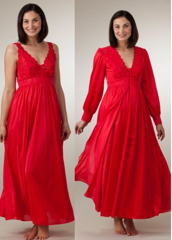 Shadowline Silhouette Robe/Gown Peignoir Set - Red | Robe, Gowns and ...