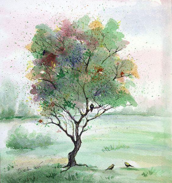 Aquarell Frohlicher Baum Malerei Ursprungliche Malerei Ein