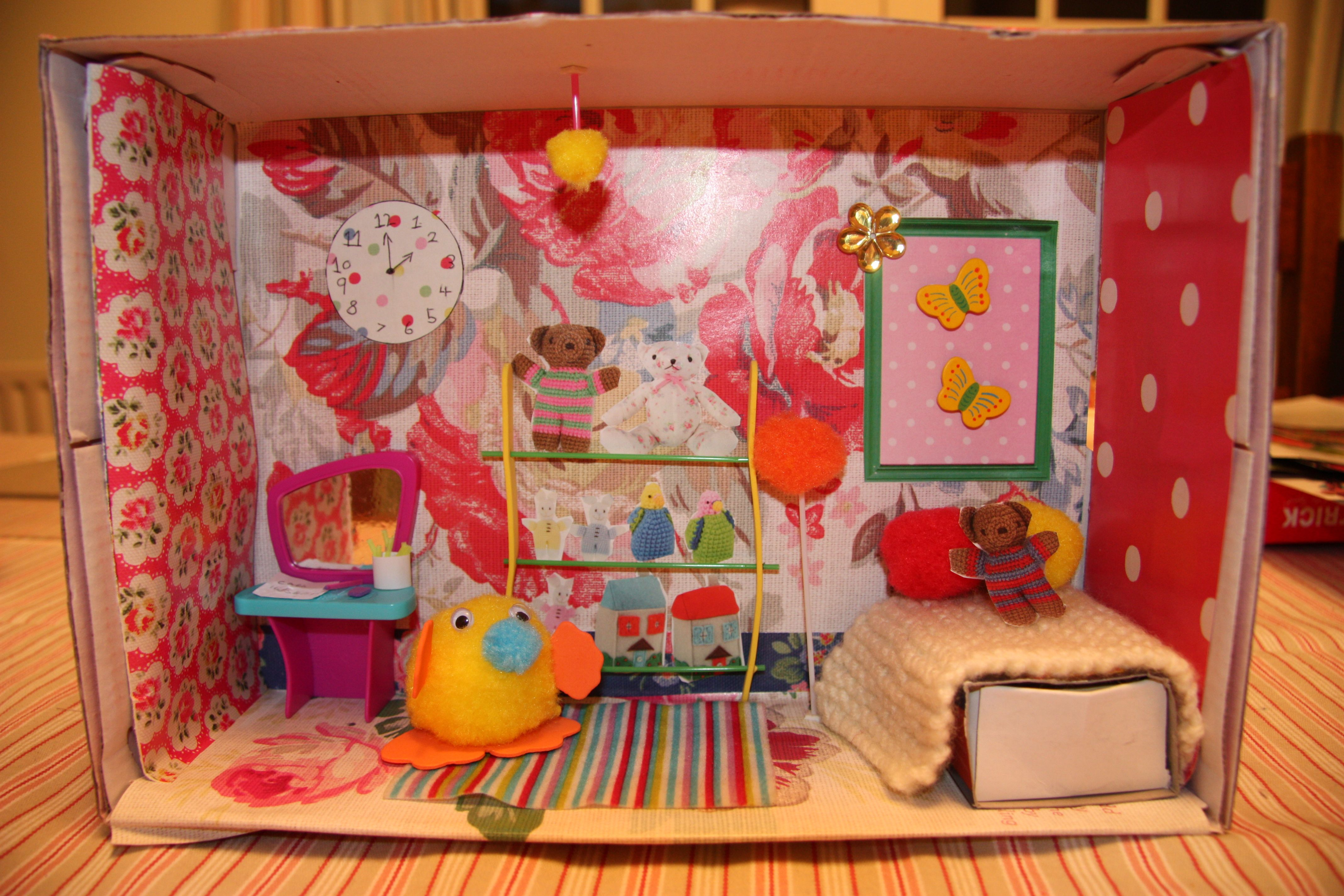 Miniature Children S Bedroom Room Box Diorama: Lots Of Fun With The Kids Making A Shoebox Room