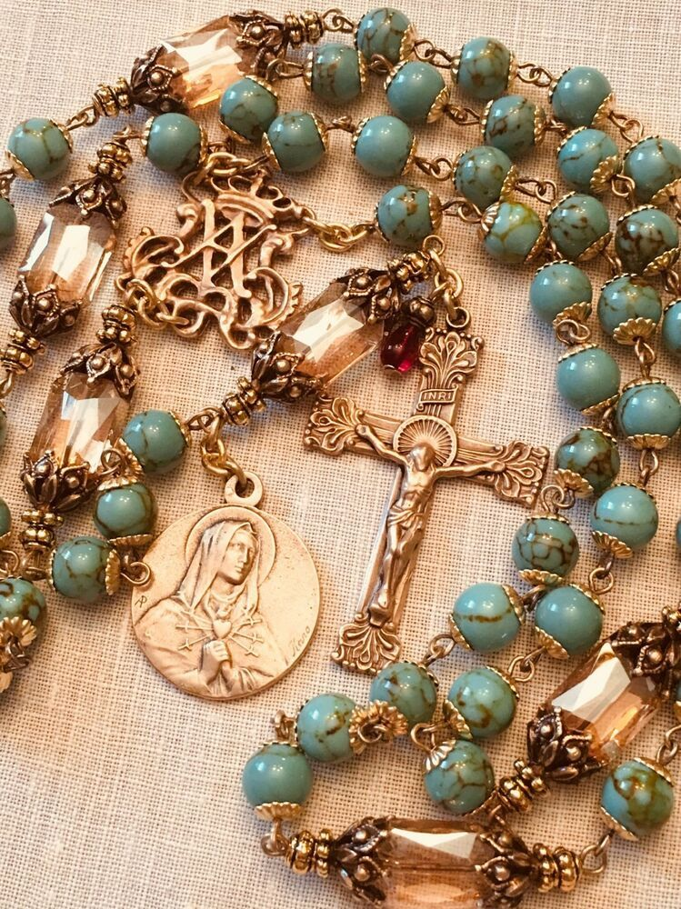 Catholic rosary st therese cobalt blue crystal bronze antique vintage design #rosaryjewelry