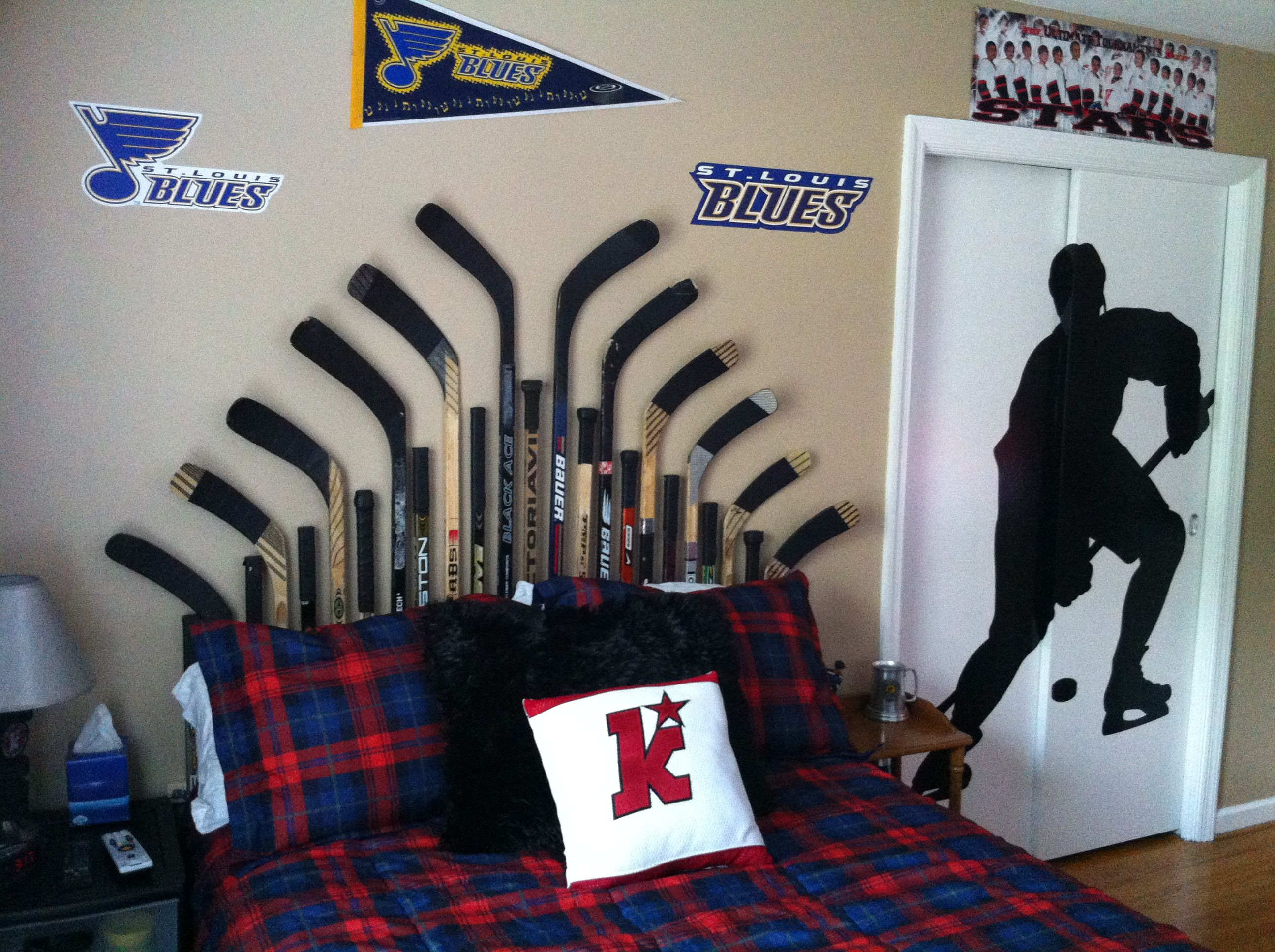 Hockey Bedroom Used Hockey Stick Headboard Dad S First