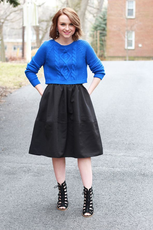 4cdd8529d14b Poor Little It Girl in Express Cobalt Blue Cropped Sweater and Black Midi  Skirt. Love