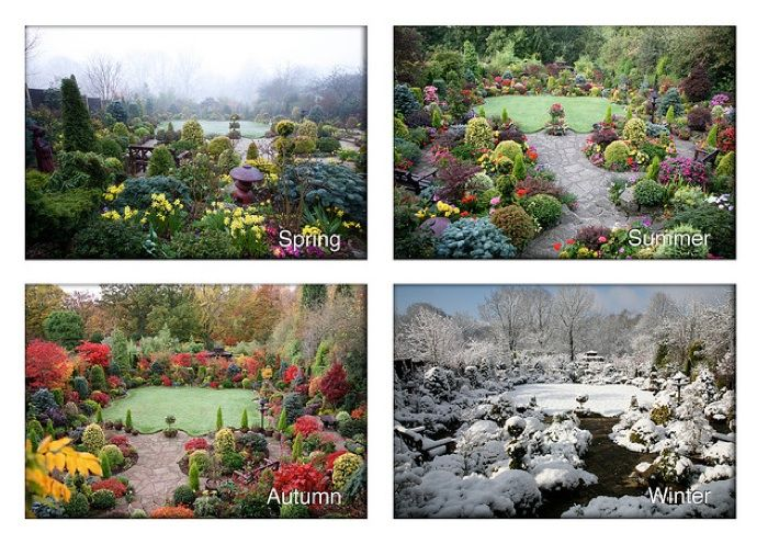 Landscape Designs · One Garden, 4 Seasons   This Is A Beautiful Garden    Colors U0026 Shapes Are