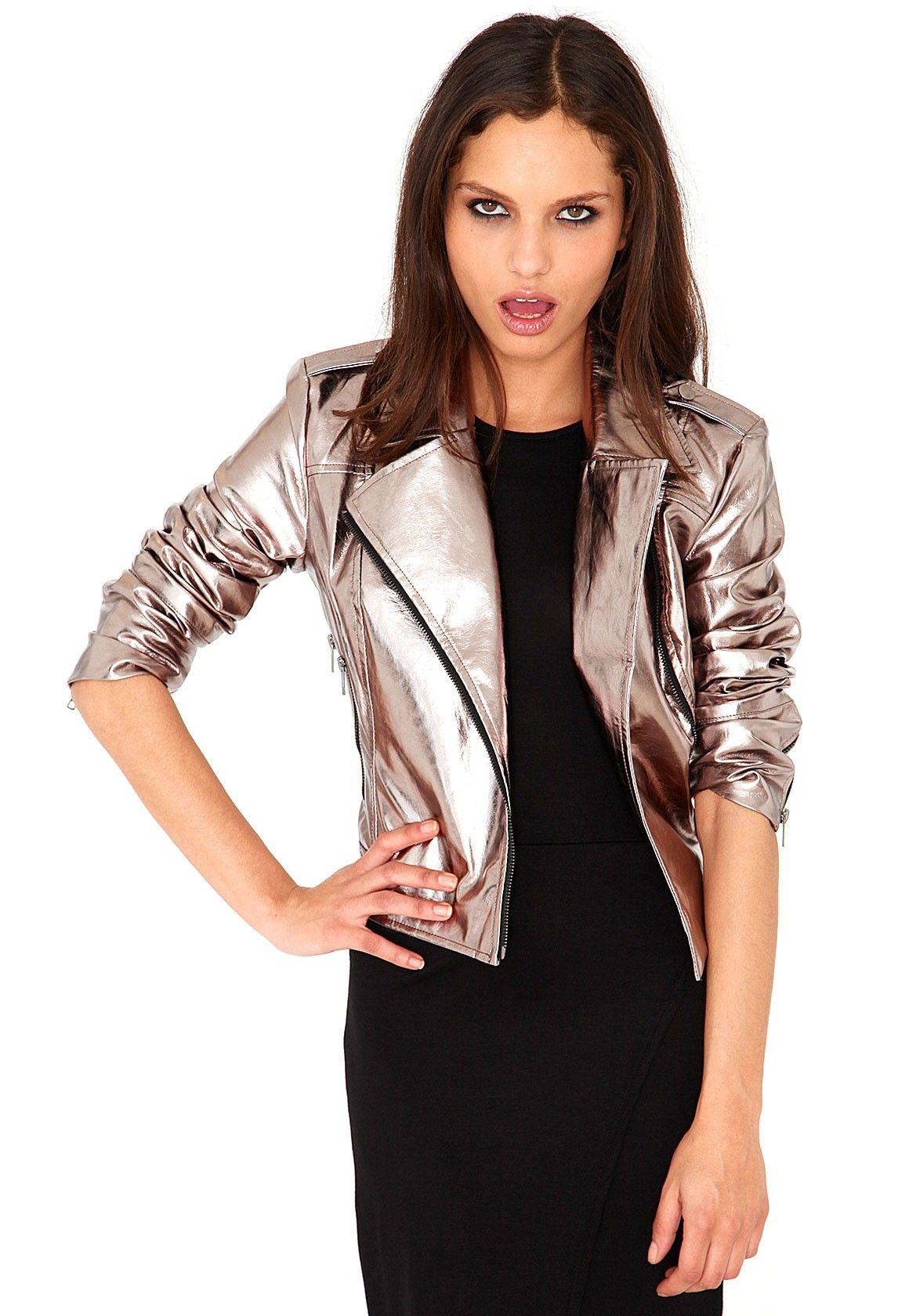 Tanvi Metallic Biker Jacket