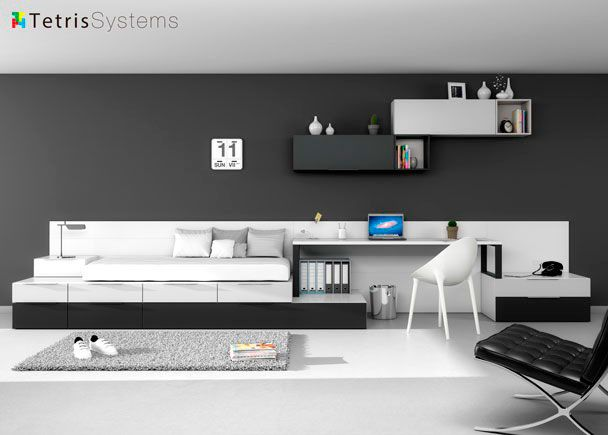 Dormitorio Juvenil: Habitación Juvenil 515 0121 | Dormitorio Juvenil  Modular Con Elementos Tetris Cubo