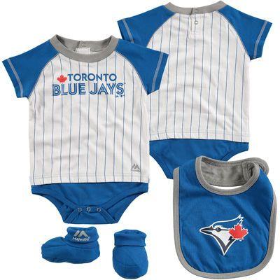 Infant Toronto Blue Jays Majestic White/Royal Little Player Bodysuit, Bootie & Bib Set