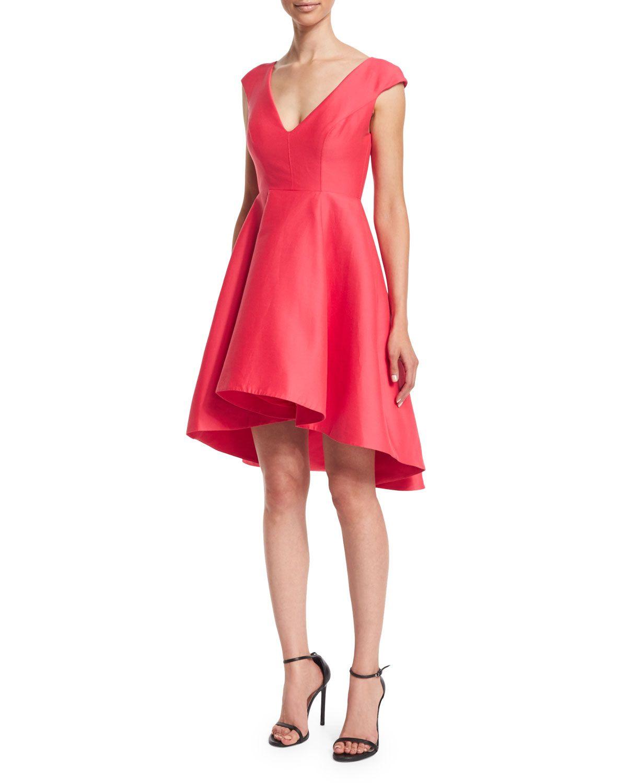 72295af1c9d2 Cap-Sleeve V-Neck Fit & Flare Dress, Coral, Women's, Size: 8 - Halston  Heritage