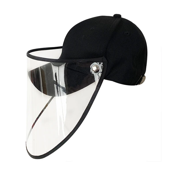 Sun Shade Hat Bucket Hat with Removable Face PVC Anti UV Cap Outdoor Sports Hat Black