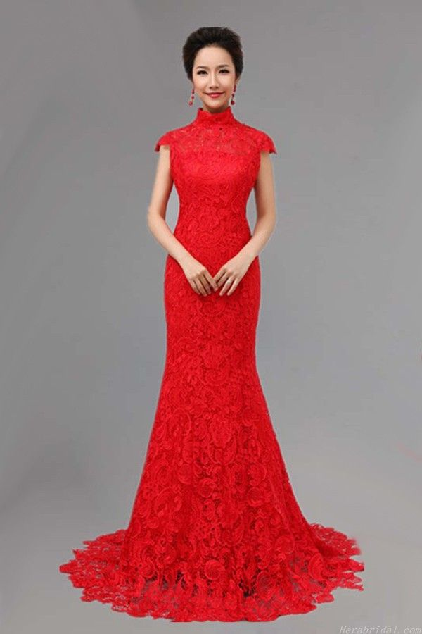 Chinese wedding dress are alway in red for many east for Asian red wedding dresses