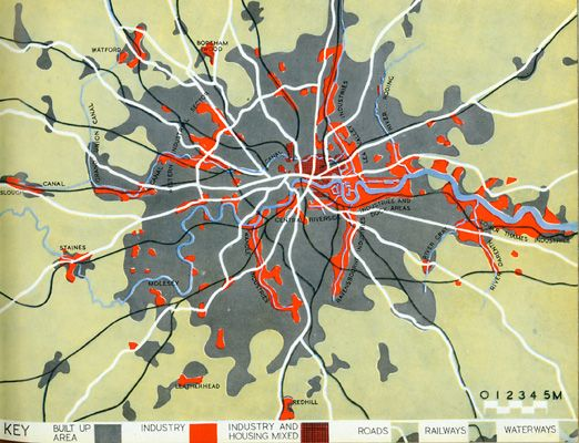 Lan For London At Work From The The County Of London Plan - London map 1945