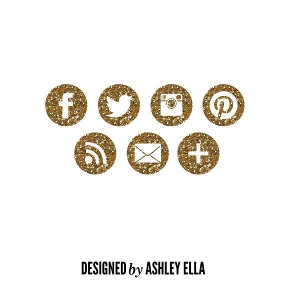 Gold Glitter Popular Social Media Icons for a Blog