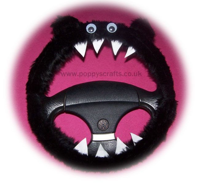 Cute Fuzzy black faux fur Monster car steering wheel cover fluffy furry fun