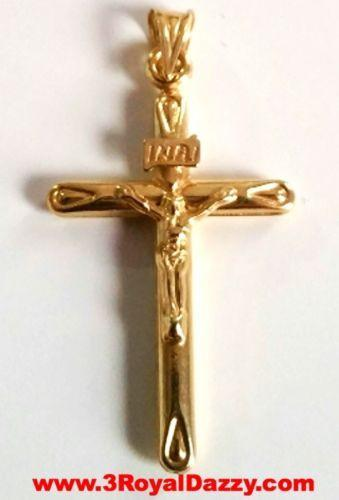 925 Sterling Silver Religious Crucifix Pendant 14k Yellow Gold Jesus