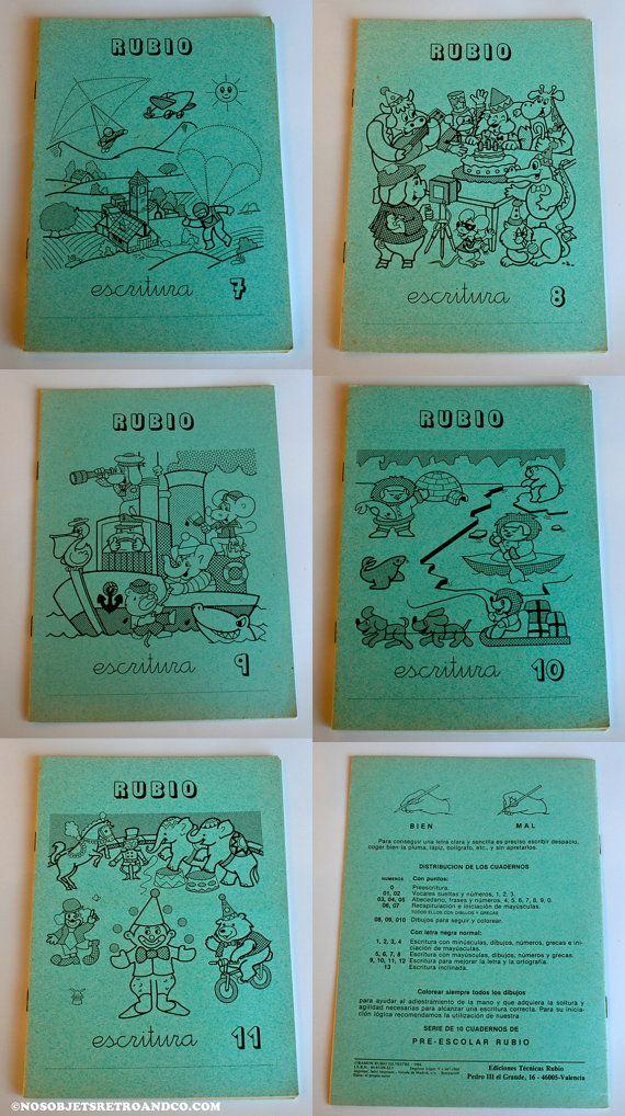 Cuadernos de escritura Rubio de los años 80...los amarillos eran de matématicas..u.u