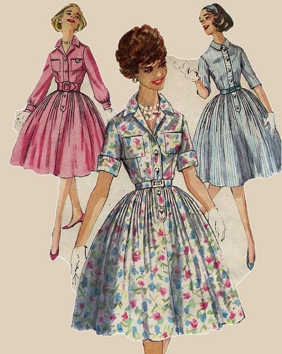 1950s Shirt Dress Pattern Simplicity 3039 Full By Pengypatterns