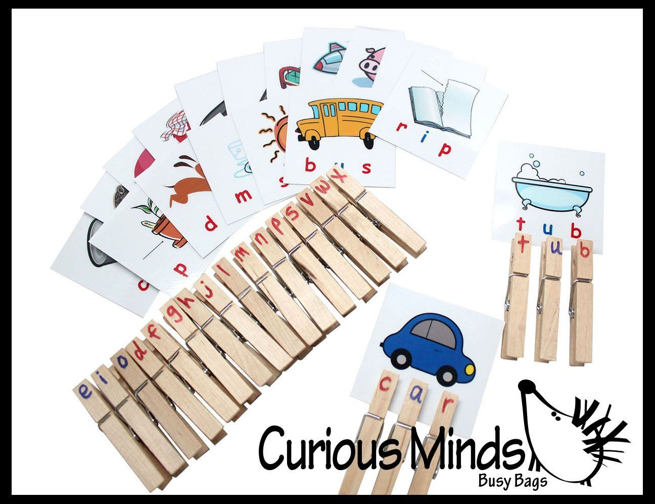 CVC Word Cards with Clothespins Busy Bag - 36 CVC Picture Words - Montessori Clothespin Movable Alphabet