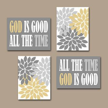 GOD Is Good All The Time Wall Art   Religious Quote Home Flower Burst  Floral Living Room Wall Art   Set Of 4 Choose Colors Canvas Or Prints