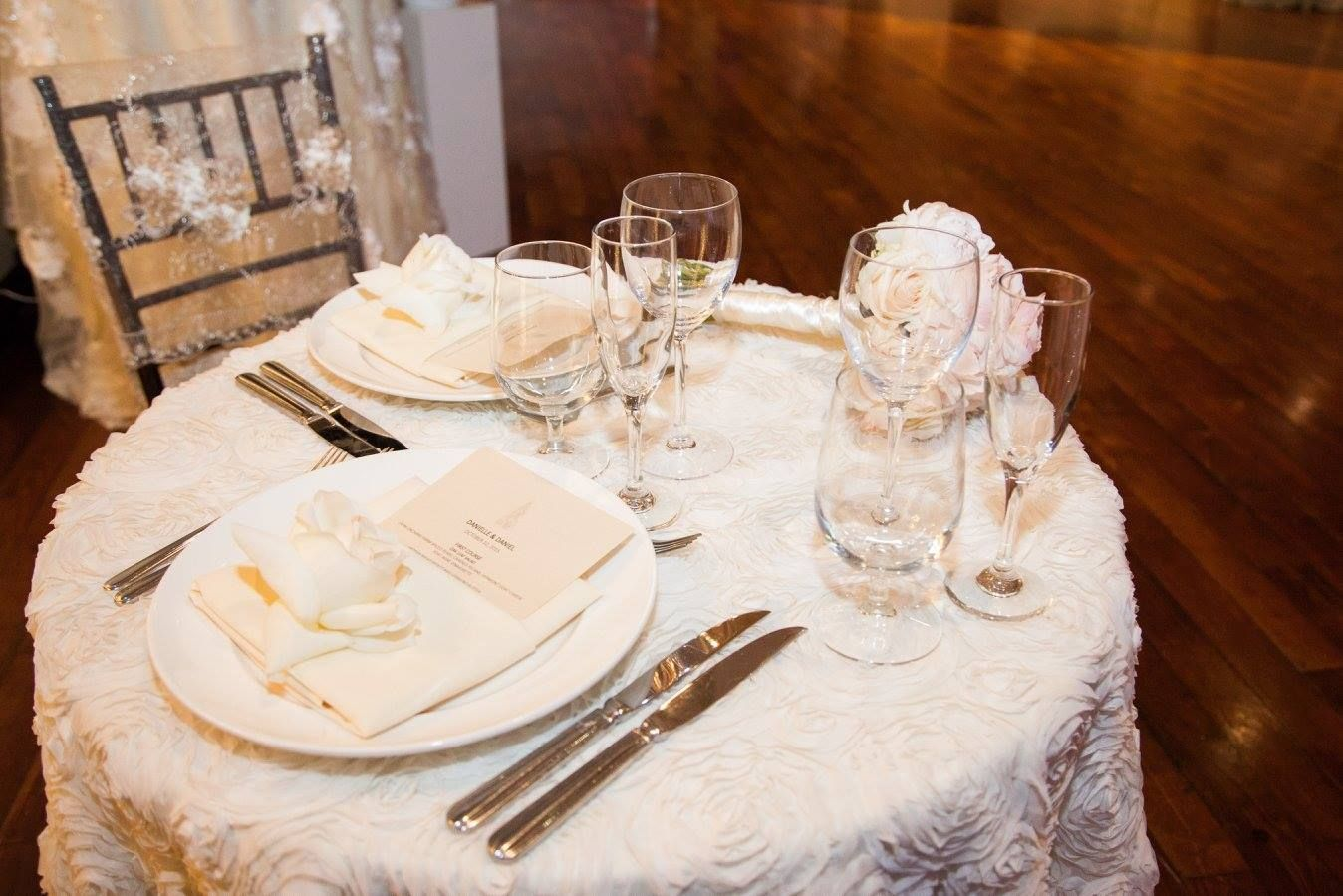 Table for two! All white wedding details- bride and grooms seats