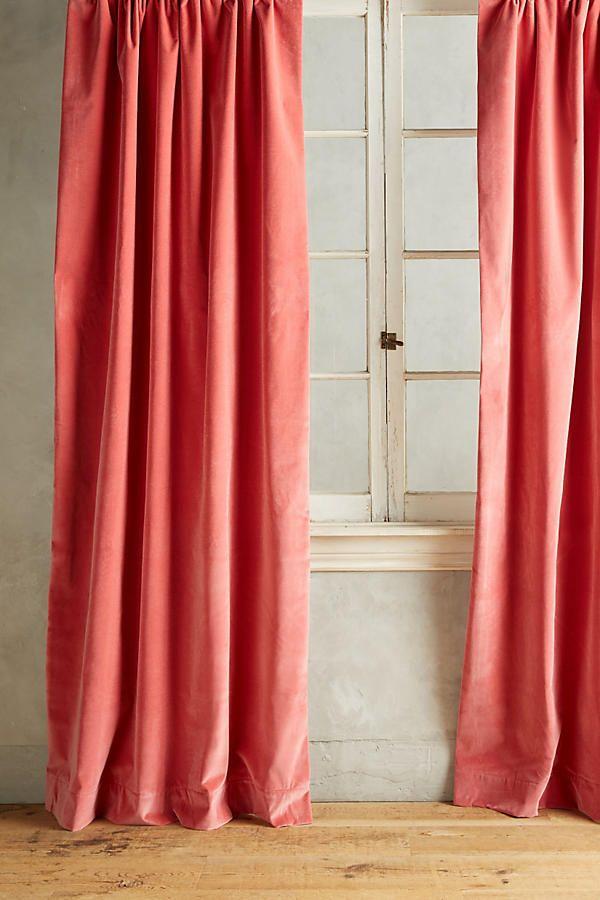 Matte Velvet Curtain Velvet Curtains Shabby Chic Curtains Pink Curtains