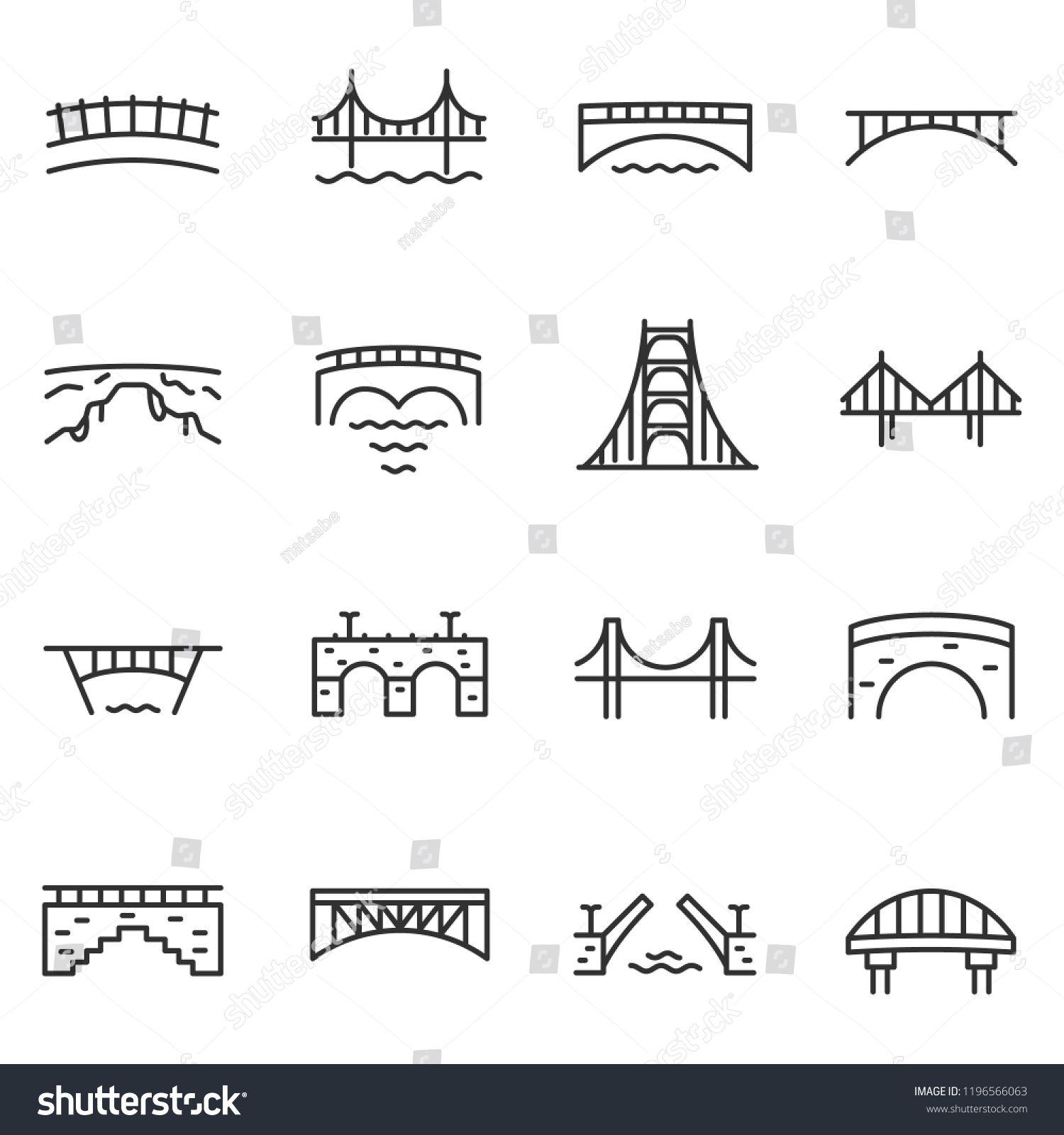 Bridge Icon Set Various Bridges Linear Icons Line With Editable Strokeset Bridges Bridge Icon Bridge Icon Pictogram Icon Set