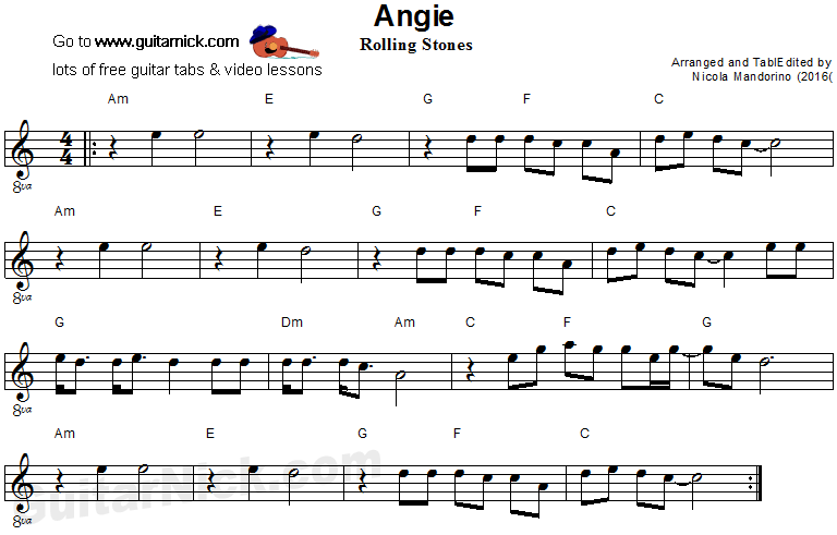 Angie Easy Guitar Sheet Music Sheet Music Pinterest Guitar