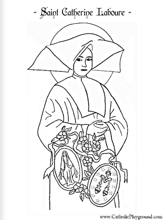 Saint Catherine Laboure Catholic coloring page Feast day