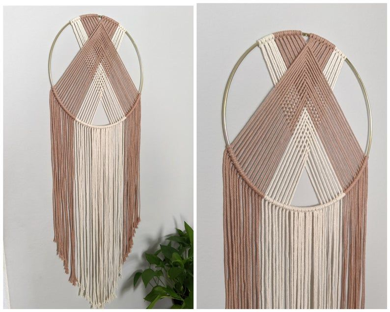 Macrame Wall Hanging Dream Catcher Using Two Colors Modern Etsy In 2020 Macrame Wall Hanging Macrame Wall Hanging Diy Macrame Wall Art