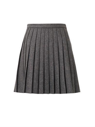 406b2bacdb3 Saint Laurent Pleated natté-wool mini skirt