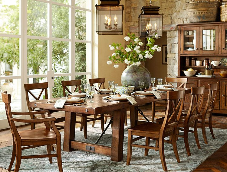 Benchwright Extending Dining Table, Alfresco Brown