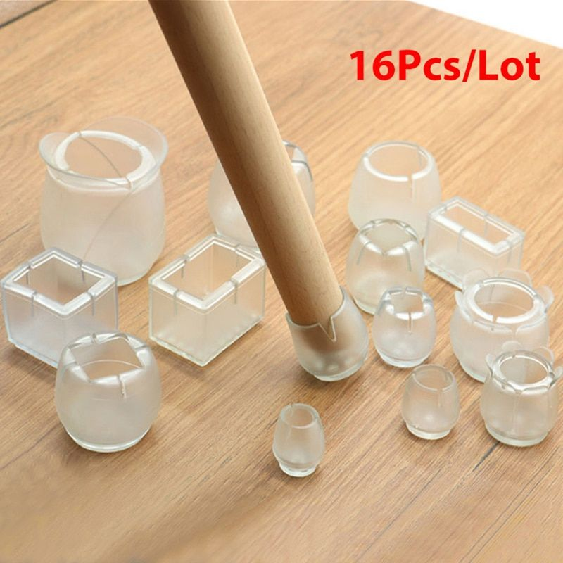 16pcslot Table Chair Leg Mat Silicone Non Slip Table Chair Leg Caps Foot Protection Bottom Cover Pads Wood Flo In 2020 Furniture Legs Floor Protectors Table And Chairs