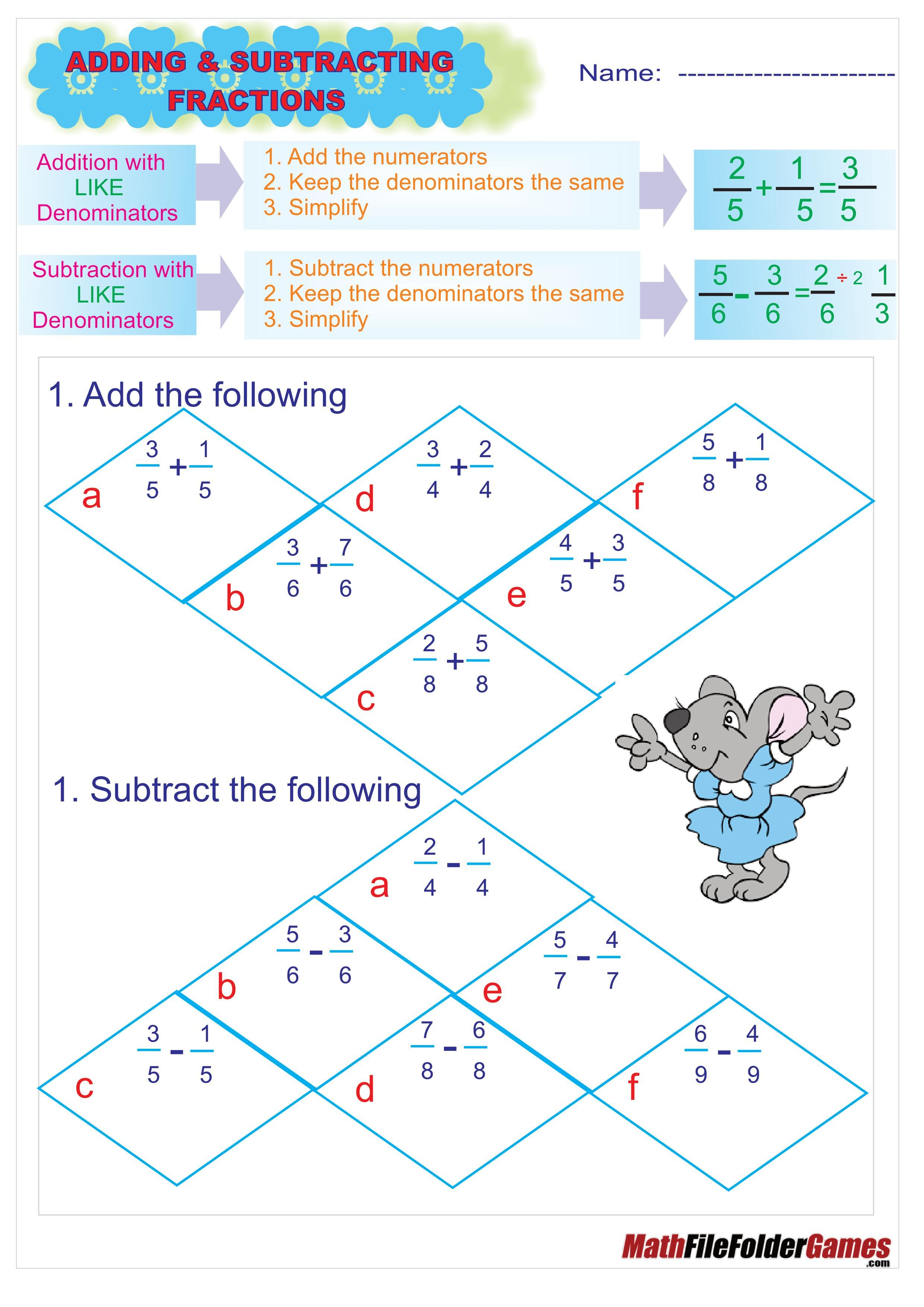 Addition Amp Subtraction Fraction Poster Cards Amp Worksheets