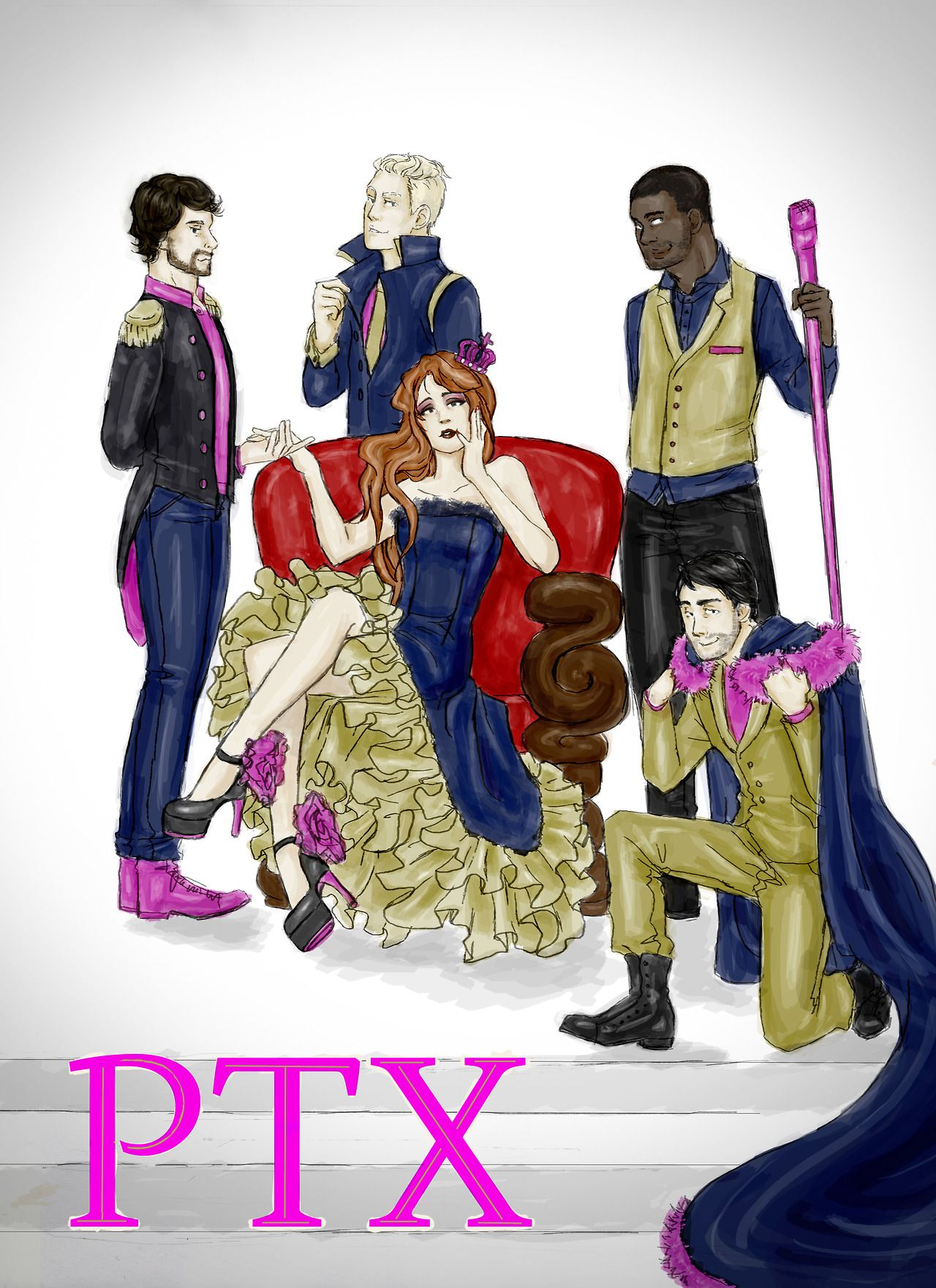 """milfiepumpkin: """"And we'll never be royals…""""inspired me to this(my first fanart of pentatonix)"""