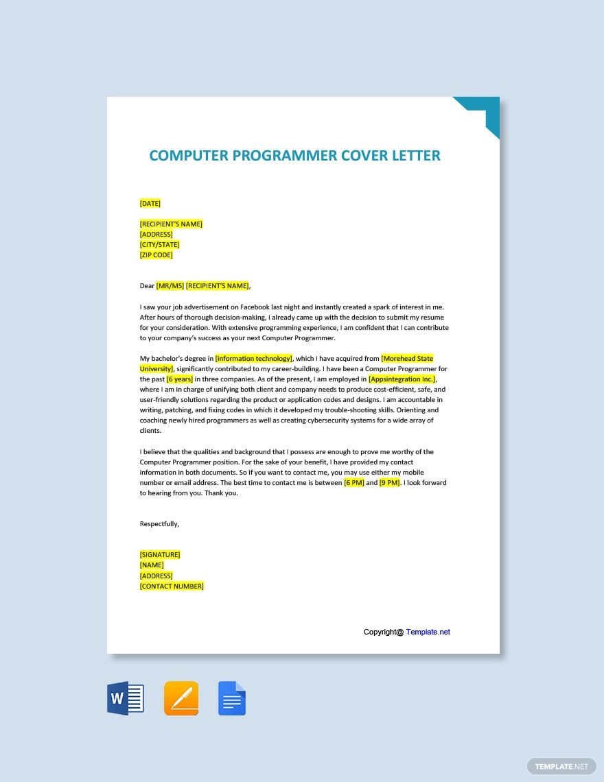 Computer Programmer Cover Letter Template Free Pdf Google Docs Word Template Net Cover Letter Template Free Cover Letter Template Letter Templates Microsoft word template cover letter