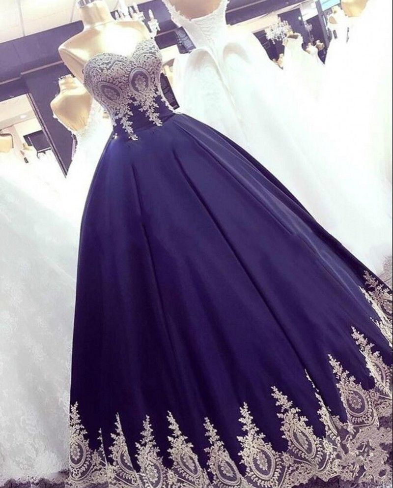 6b855babcd7 Nice Awesome New Royal Blue Gold Lace Long Ball Gown Prom Evening  Quinceanera dress Wedding Cool
