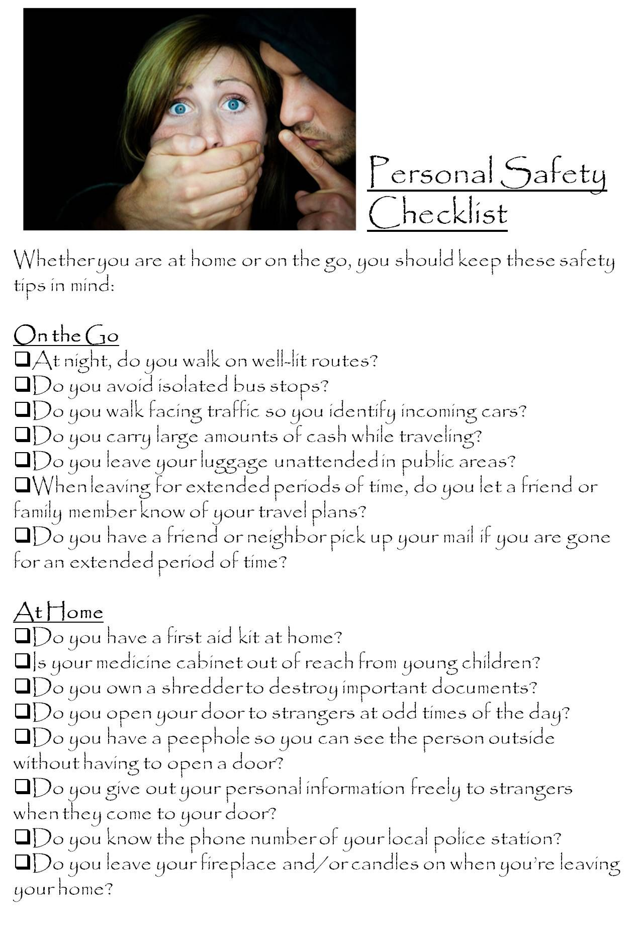Personal Safety Checklist Personal safety, Safety
