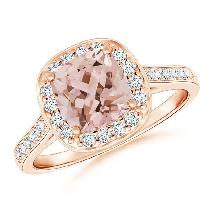 Angara Morganite Cocktail Ring in 18k White Gold