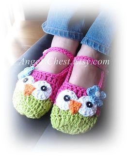 c04315ec5f94b Owl Mary Janes Slippers-child to adult sizes-pattern by Mary Angel ...