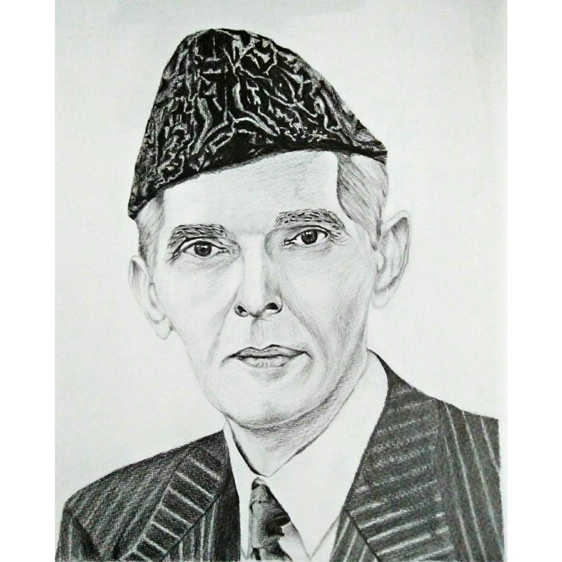Portrait of our national hero and a true leader quaid e azam art