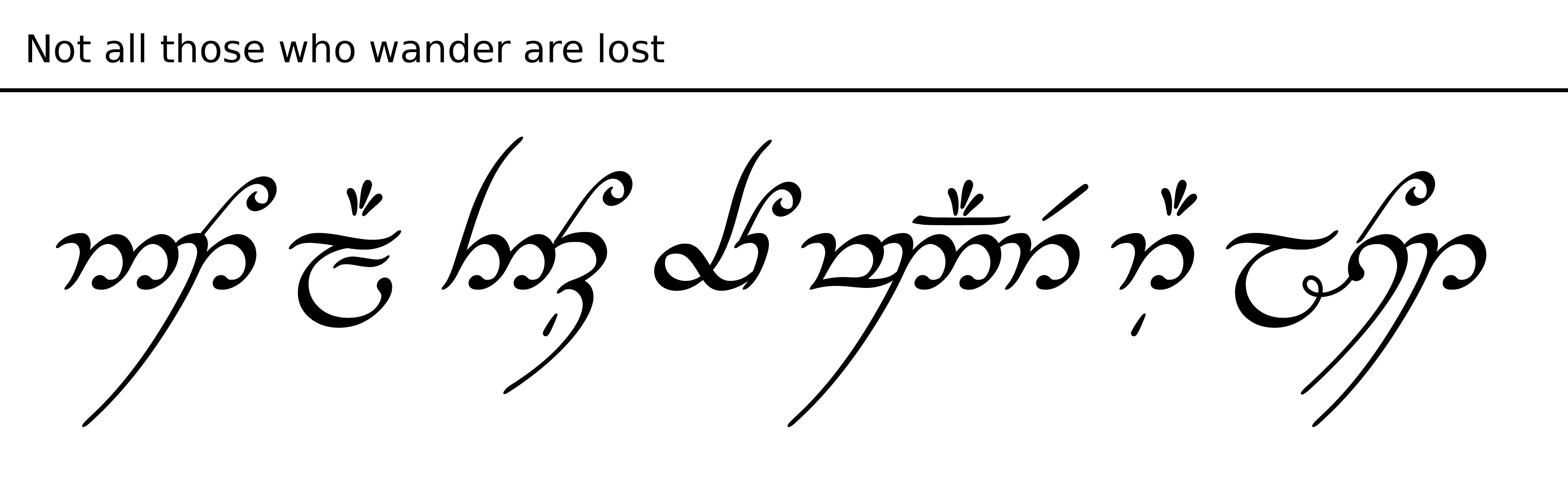 Not All Those Who Wander Are Lost In Tengwar So Beautiful My Original Plan Was To Have This Phrase Tattooed On My Word Tattoos Elvish Tattoo Tattoo Fonts